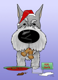 Schnauzer Santa's Cookies Greeting Cards