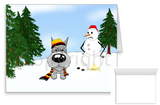 Schnauzer Winter Snowman Greeting Cards