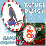 Greyhound Santa Hat Christmas Ornament