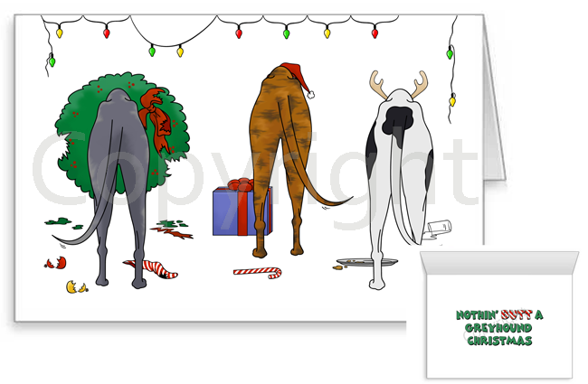 Nothin' Butt A Greyhound Christmas Greeting Cards