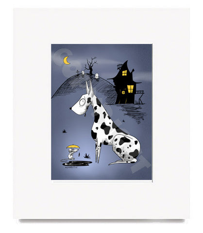 Goth Great Dane Matted Art Print