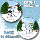 Great Dane Snowman Christmas Ornament