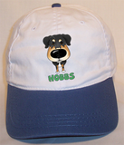 Custom Hobbs Cotton Cap - White w/Blue Bill