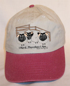 I Herd with Sheep Baseball Cap - Stone Washed w/Maroon Bill