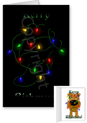 Irish Terrier Merry Christmas Lights Greeting Cards