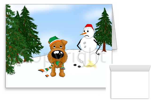 Irish Terrier Winter Snowman Greeting Cards