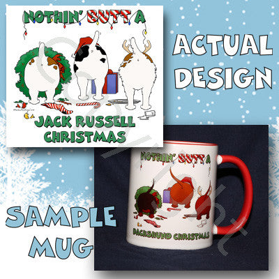 Jack Russell Terrier butt christmas coffee mug