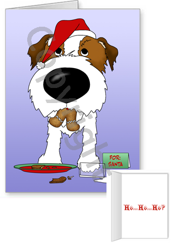 Wire Haired Jack Russell Terrier Santa's Cookies Greeting Cards