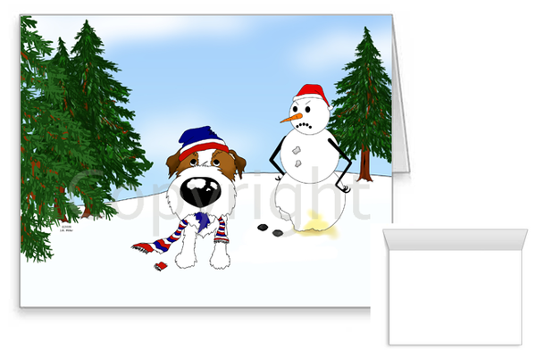 Wire Haired Jack Russell Terrier Winter Snowman Greeting Cards