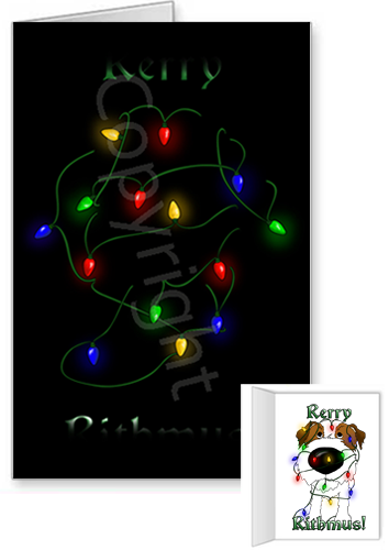 Jack Russell Terrier Merry Christmas Lights Greeting Cards