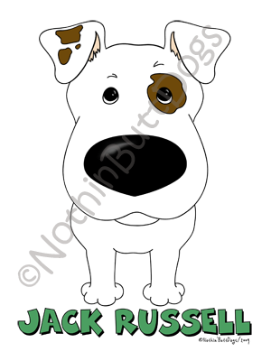 Big Nose Jack Russell Terrier (Short) Light Colored T-shirts
