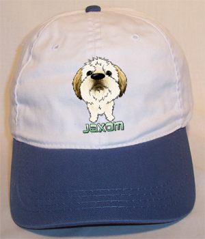 Custom Jaxom Cotton Cap - White w/Blue Bill