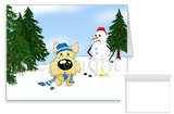 Wheaten Cairn Terrier Winter Snowman Greeting Cards