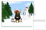 Belgian Malinois Winter Snowman Greeting Cards