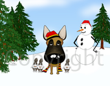 Belgian Malinois Winter Scene Greeting Cards
