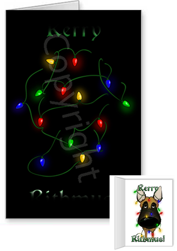 Belgian Malinois Merry Christmas Lights Greeting Cards