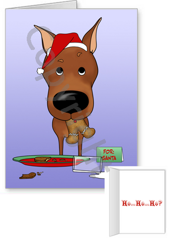 Miniature Pinscher Santa's Cookies Greeting Cards