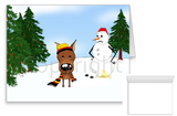 Miniature Pinscher Winter Snowman Greeting Cards