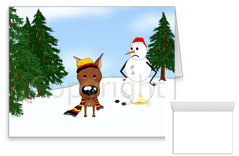 Miniature Pinscher Winter Scene Greeting Cards