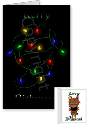 Miniature Pinscher Merry Christmas Lights Greeting Cards