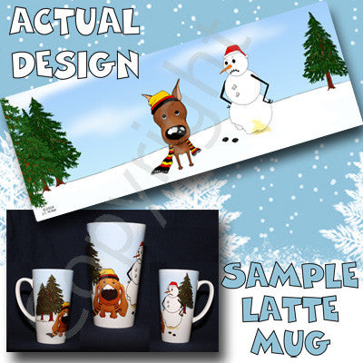 Miniature Pinscher Snowman 17oz Latte Mug