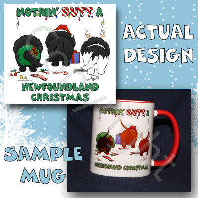 Newfoundland butt christmas coffee mug