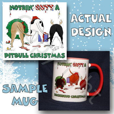 Pitbull butt christmas coffee mug