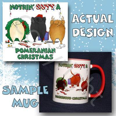 Pomeranian butt christmas coffee mug