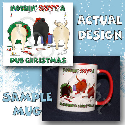 Pug butt christmas coffee mug