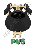 Big Nose Pug Light Colored T-shirts