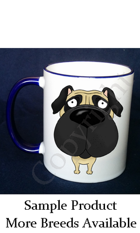 Dog Mug (Big Nose) 11oz Blue Rim & Handle (40+ Breeds Available)