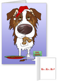 Red Australian Shepherd Santa's Cookies Greeting Cards