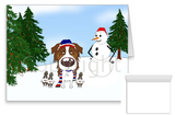 Red Australian Shepherd Winter Snowman Greeting Cards
