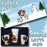 Red Aussie snowman christmas latte mug
