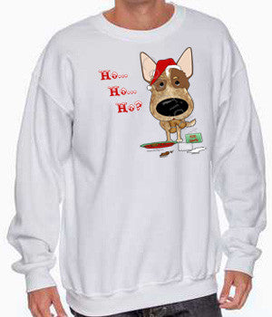 red heeler cattle dog santa hat sweatshirt