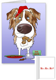 Red Merle Australian Shepherd Santa's Cookies Greeting Cards