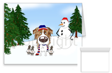 Red Merle Australian Shepherd Winter Snowman Greeting Cards
