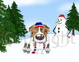Australian Shepherd Winter Scene Greeting Cards
