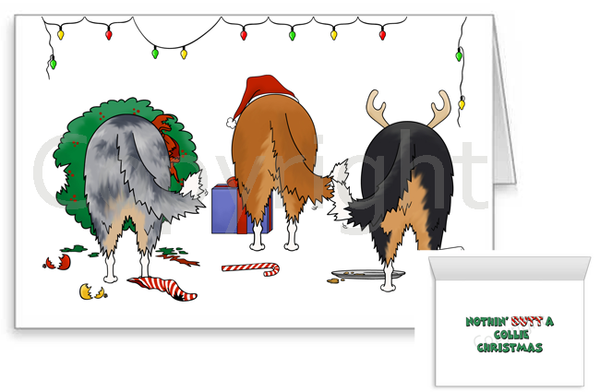 Nothin' Butt A Rough Collie Christmas Greeting Cards