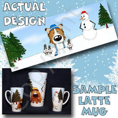 Sable Rough Collie snowman christmas latte mug