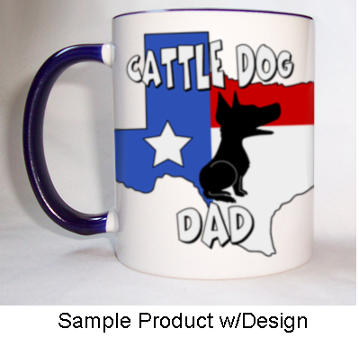 Texas Mom Mug Blue Rim & Handle - (5 Dog Breeds Available)