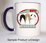Nothin' Butt Mug - Blue Rim & Handle  (70+ Dog Breeds Available)