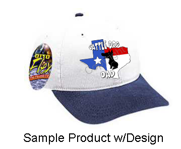 Texas Dad Baseball Cap - White w/Navy Bill (10+ Dog Breeds Available)