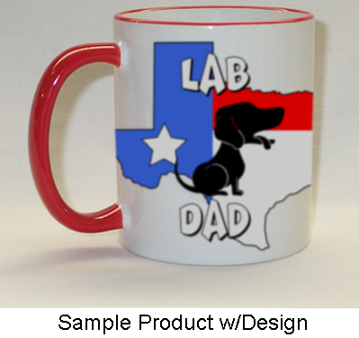Texas Dad Mug Red Rim & Handle - (10+ Dog Breeds Available)