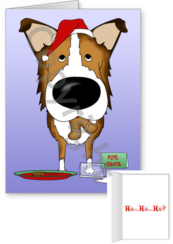 Smooth Collie Santa's Cookies Greeting Cards