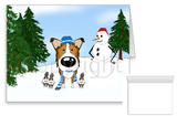 Sable Smooth Collie Winter Snowman Greeting Cards