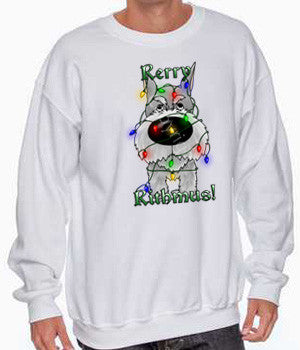 schnauzer christmas lights sweatshirt