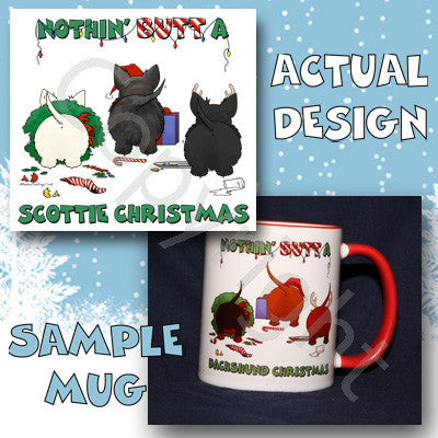 Scottish Terrier butt christmas coffee mug