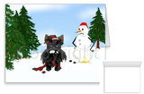 Scottish Terrier Winter Snowman Greeting Cards
