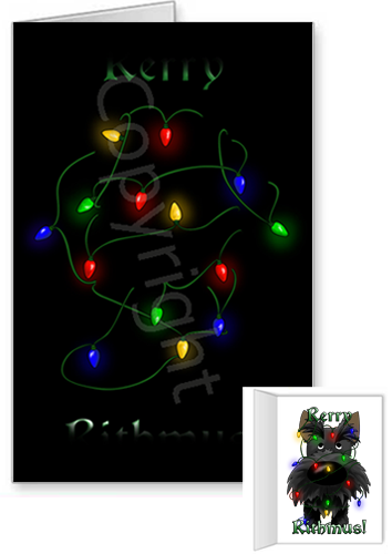 Scottish Terrier Merry Christmas Lights Greeting Cards